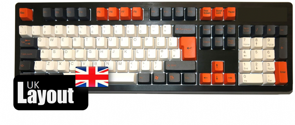 Tai-Hao ABS Double Shot Keycaps Carbon/White/Orange UK